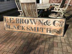 Large Antique Folk Art Trade Sign Rare Old Primitive Wooden Blacksmith sign