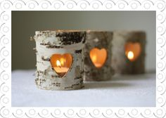 Rustic Bark Tea Light Holders - for the route from the church to the venue?