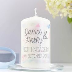 Personalised candle from Not on the High Street