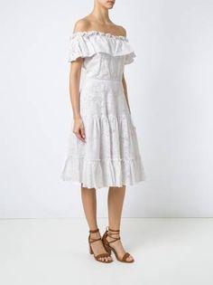 Isolda Vestido midi de renda com decote ombro a ombro
