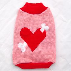 !Red Dog Sweater with Big Heart&bone Design,pet Jumper Coat Clothes Apparel,5 Sizes/XS S M L XL5 Sizes Available Online with $4.89/Piece on Ywsaikeshi's Store | DHgate.com