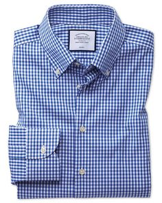 23971505 Slim fit business casual non-iron royal blue check shirt Royal Blue  Outfits, Royal