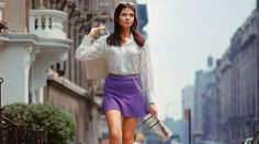 "Fashion Photographic Print: Long Hair Woman with short skirt, lace top and sandals walking up street in ""New York Look"" fashion by Vernon Merritt III : - Vintage Street Fashion, 1960s Fashion, Moda Fashion, New York Fashion, Gq Fashion, Sporty Fashion, Fashion Videos, Fashion Shoot, Fashion 2017"