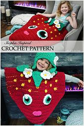 This is a PDF Crochet pattern for a Strawberry Shopkin Inspired Costume or Blanket. Instructions are included for a costume in toddler to adult size with hat pattern. Blanket design includes the option for a full sleeping bag or make with a back pouch for feet and calves. This is a fun design for all ages and is made in soft Bernat Blanket yarn! The design works up quick and you can substitute 2-3 strands of worsted weight yarn if desired.