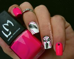 Neon pink dreamcatcher nail art