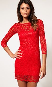 Style fashion clothing women outfit red lace dress earrings ...