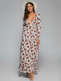 Plunging Neck Maxi Floral Dress - WHITE M Mobile