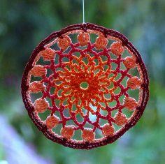Crochet suncatcher lace hanger mandala orange red peach beaded