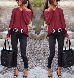 burgundy and black style #fashion#