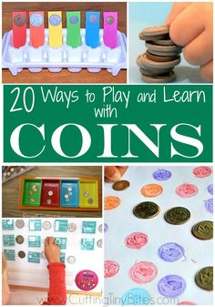 A fun roundup of 20 easy math activities using coins that is perfect for kindergarten, first and second graders. These games would make great additions to a math unit or money unit. Money Activities, Math Activities For Kids, Money Games, Math For Kids, Kids Worksheets, 4 Kids, Kindergarten Math Games, Preschool Learning, Teaching Math