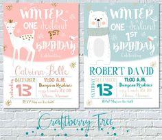 Winter 1-derland - 1st Birthday Invitation by Craftberrytree on Etsy