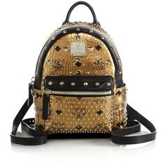 MCM Bebe Boo X Mini Coated Canvas Backpack ($1,520) ❤ liked on Polyvore featuring bags, backpacks, mcm, apparel & accessories, strap backpack, mini crossbody, brown backpack and brown crossbody bag