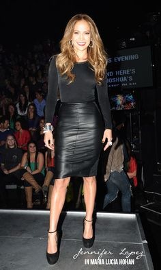 Jennifer Lopez wearing Hermes Collier De Chien Cuff Bracelet, Giuseppe Zanotti Double Platform Pumps in Creme, Maria Lucia Hohan Camille High-Waisted Leather Skirt and Maria Lucia Hohan Sophie Embellished Bodysuit. J Lo Fashion, Autumn Fashion, Fashion Looks, Fashion Idol, Fashion Black, Petite Fashion, Curvy Fashion, Skirt Fashion, Style Fashion