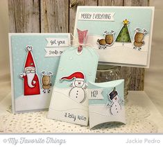Christmas Cuteness stamp set and Die-namics, Jingle All the Way, Snowfall Background, Square Pillow Box Die-namics, Stitched Snow Drifts Die-namics, Stitched Traditional Tag STAX Die-namics - Jackie Pedro #mftstamps