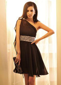 A Line Black One Shoulder Dress with Bejeweled Waist