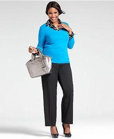 Wear What Works Plus Size Pants & V-Neck Sweater Look - Plus Size Suits & Separates - Plus Sizes - Macy's
