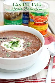 This Easiest Ever Black Bean Soup recipe is on the table in 20 minutes or less.