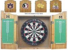 Michigan State MSU Spartans NCAA Dart Board w/Cabinet & Darts