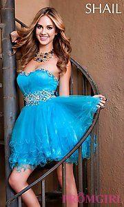 Buy Short Strapless Shail K Prom Dress at PromGirl