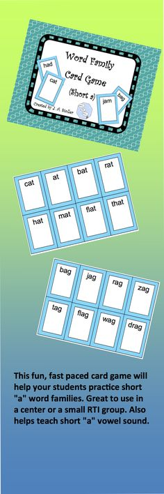 """This fun, fast paced card game will help your students practice short """"a"""" word families. Great to use in a center or a small RTI group. Also helps teach short """"a"""" vowel sound."""