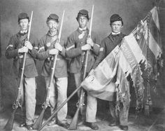 American Civil War Flags - Color guard of the Ohio Volunteer Infantry with the national colors of their regiment, ca. Memento Mori, Ohio, Civil War Flags, Post Mortem, Union Army, War Image, America Civil War, War Photography, Civil War Photos
