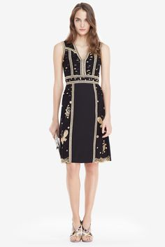DVF Tyche Embroidered Tulle Sheath Dress