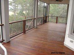 Brazilian walnut porch flooring & pretty railing