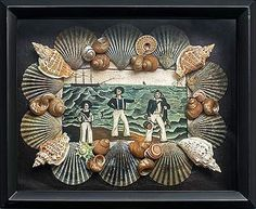 Seashell & decopupage shadowbox crafted from Nantucket scallop shells with an image of three sailors on shore. Seashell Frame, Seashell Art, Seashell Crafts, Beach Crafts, Seashell Display, Seaside Decor, Coastal Decor, Easy Diy Crafts, Beach Art