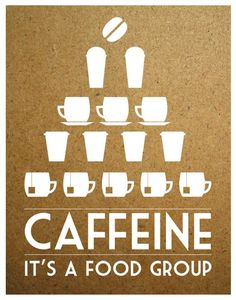 Coffee Tea Print Typography Caffeine It's a Food Group - 11x14 Poster wall art decor kitchen Starbucks white cup brown tan taupe cork. $27.00, via Etsy.