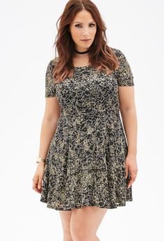 Metallic Lace Fit & Flare Dress $27.90