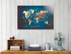 Discover «world map 41», Numbered Edition Aluminum Print by Justyna Jaszke - From $59 - Curioos
