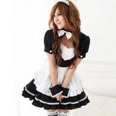 Mordor School Girls Black White Simple Lolita Maid Costume Cosplay Costume