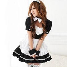 Mordor School Girls Black White Simple Lolita Maid Costume Cosplay Costume