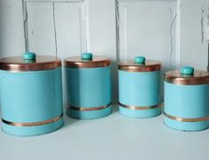 Vintage 1950s Turquoise and Copper Kitchen by SwirlingOrange11