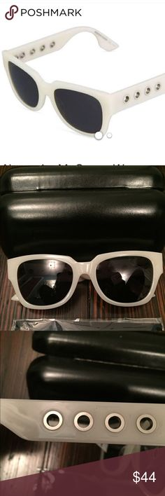 Alexander McQueen Ivory Eyelet Sunglasses NWT, case, cleaning cloth  McQ by Alexander McQueen plastic sunglasses. Thick white square frames. Opaque black lenses. Wide, tapered arms. Silvertone eyelet temples. 100% UV protection. McQ by Alexander McQueen Accessories Sunglasses