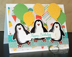 Snow Place & Snow Friends Penguin die cuts - birthday balloon greeting card by Patty Bennett. Balloons die cut from Cherry on Top DSP Penguin Birthday, Penguin Baby, Snow Place, Birthday Highchair, Name Place Cards, Making Greeting Cards, Birthday Balloons, Scrapbook Cards, Scrapbooking