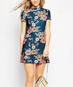 Look what I found on #zulily! Navy & Mauve Floral Keyhole Shift Dress #zulilyfinds