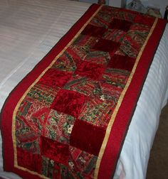 Crazy quilt blocks alternating with crushed velvet for Christmas!