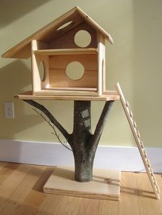 """Pinner stated: """"It said for a doll house. But through some carpet on there and you have an awesome cat tree."""" A tree house for a cat:) Fairy Tree Houses, Cat Tree House, Tree Cat, Kitty House, Niche Chat, Wood Projects, Woodworking Projects, Sketchup Woodworking, Woodworking Plans"""