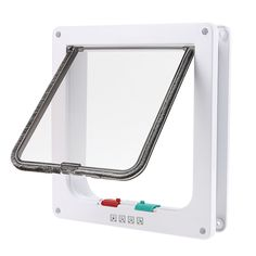 wowowo(TM) Small Cat Flap with 4 Way Locking Lockable cat Door, Plastic, White ** For more information, visit now : Cat Doors, Steps, Nets and Perches