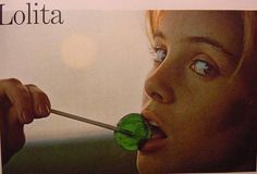 Sue Lyon with a green lollipop photographed by Bert Stern for Stanley Kubrick's Lolita (1962)