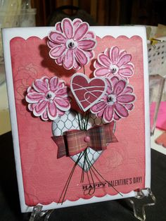 Valentine Bouquet inspired from this card http://stamping.craftgossip.com/technique-stamp-on-both-sides-of-a-die-cut/2012/03/05/ using Close To My Heart My Acrylix stamps and papers including the ARTISTE Cricut Cartridge by CTMH