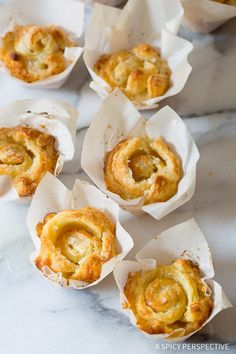 """Love these 3-Ingredient """"Cheater"""" Kouign Amann Recipe on ASpicyPerspective.com - Great for the holidays! Puff Pastry Desserts, Frozen Puff Pastry, Puff Pastry Recipes, Bread And Pastries, French Pastries, Puff Pastries, Wie Macht Man, Sweet Bread, Just Desserts"""
