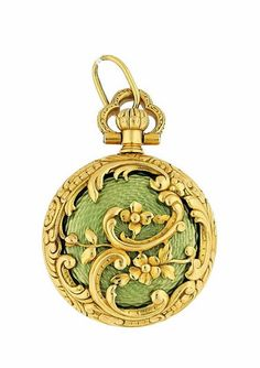 TIFFANY &Co, Gold and Enamel Open Face Pendant Watch