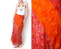 Vintage Boho Chic Gypsy Orange/Red Long Skirt by VintageSpins, $22.00