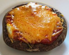 Portobello Mushroom Pizza - a pizza with NO CARBS!  Finally - a pizza that's good for your waistline :) CLICK FOR RECIPE!