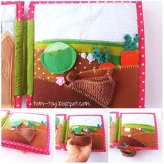 Garden quiet book page with crocheted basket to collect the hidden vegetables