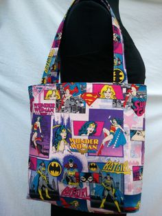 Reversible Tote Purse Bag Made From Girl Power Fabric  by melrowe, $15.00