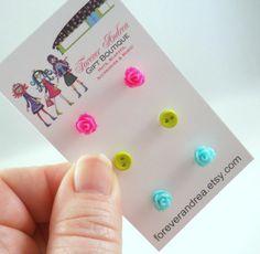 Teeny Tiny Earrings Hot Pink Earrings Chartreuse Earrings Light Blue Earrings Rosette Earrings Tiny Button Earrings Cute Earring Studs by foreverandrea on Etsy