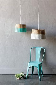 Woven basket lighting is making a surge in home decor. We love the playfulness of these paint dipped basket pendants in white or teal.